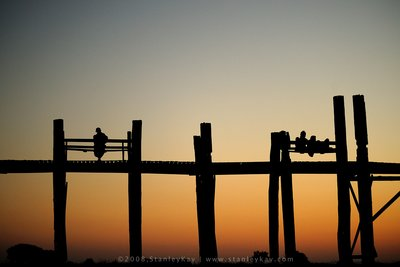 U Bein Bridge at Amarapura, Mandalay. Myanmar