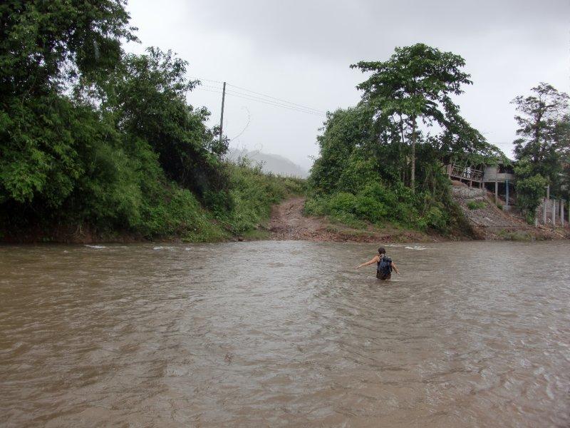 Wading through river