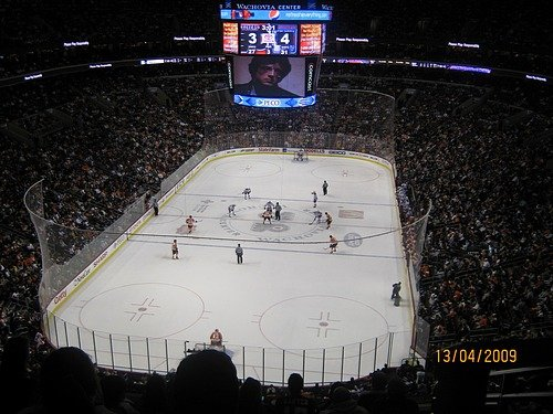 At the Ice Hockey, Philadelphia Flyers v New York Rangers.