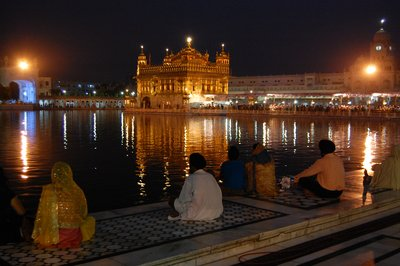 Golden temple, yellow sequinned dupatta