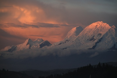 Sunset over the Cordillera Blanca Peruvian Andes