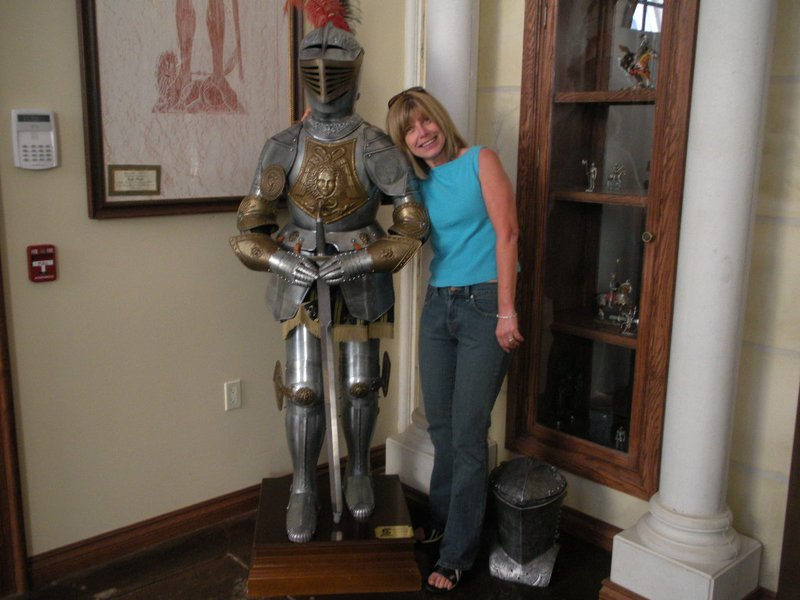 Patti with the knight in armor