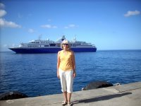 me and our ship in Dominica