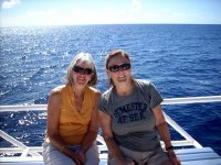 me and Joan on the whale spotting boat in Dominica