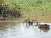Santarem -bike parked in river