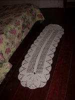 Crocheted run on the floor in my room