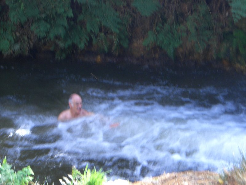Tony swimming in Kerosene Greek - yes it does smell of kerosene and it was v. hot