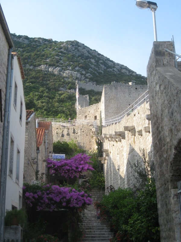 Ston's wall from an alley-way in Ston
