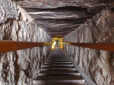 Tunnel into red pyramid