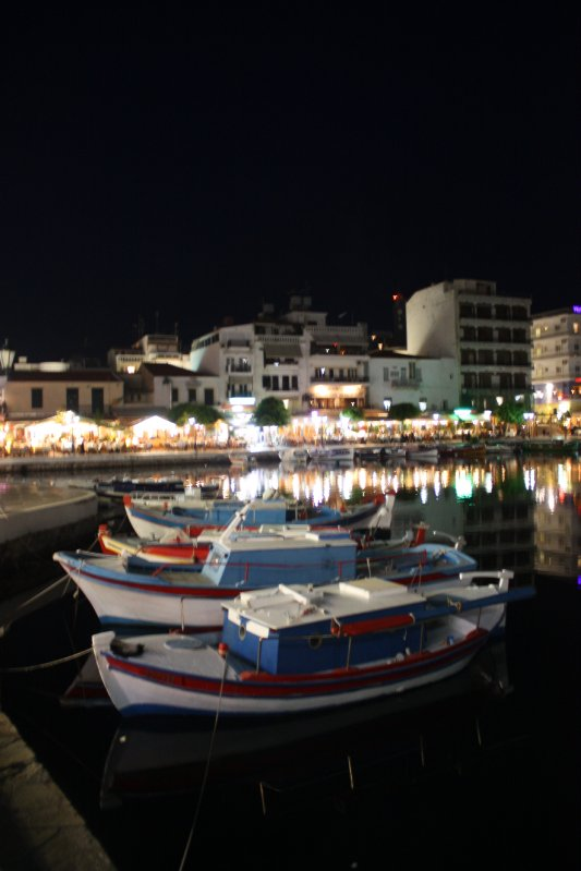 Agios Nikolaos, Crete on the Lake at Night