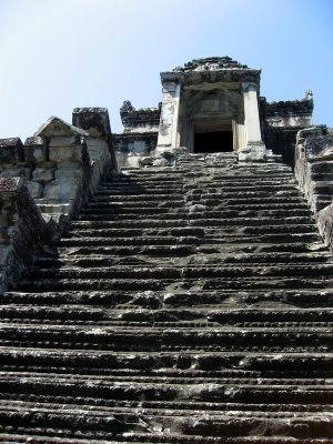 steep staircase leading to the highest point at Angkor Wat