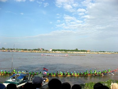 boat racing competition during the water festival at Phnom Penh