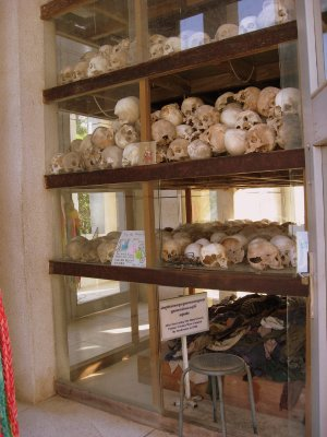 skulls and clothes of those executed