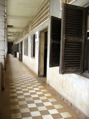 The corridors of the prisons at Tuol Sleng Museum