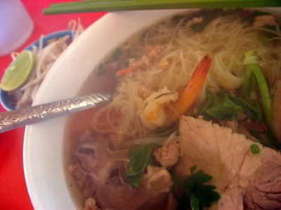 Cambodia breakfast - noodle soup pork
