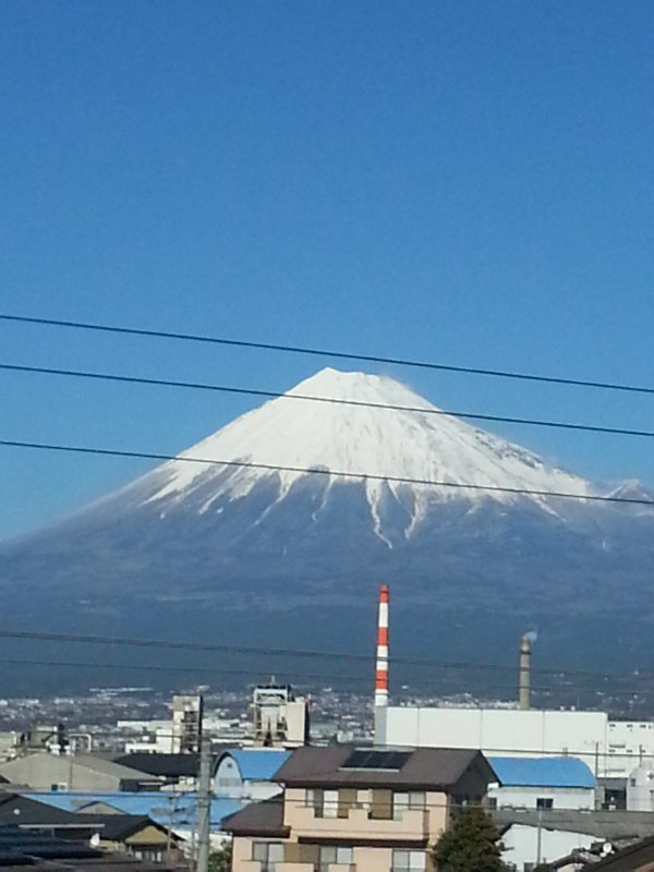 Mount Fuji view from a train