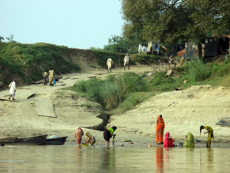 On the banks of  the Ganges River