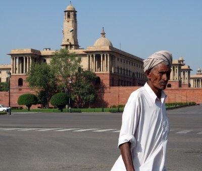 man near buildings