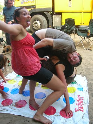 Megs getting frisky during Twister