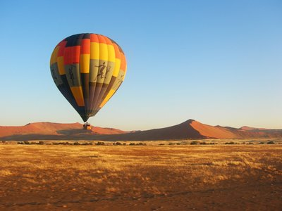 Hot air ballooning over Namibian dunes