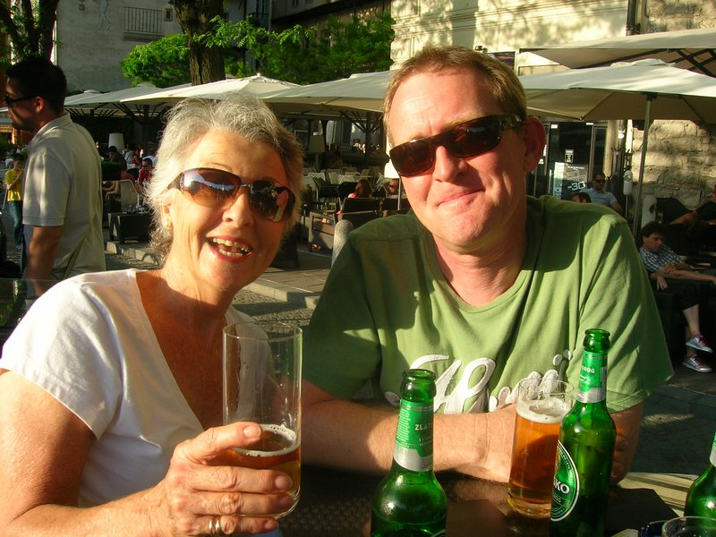 David and my mom = we were having sundowners on Ljubljana river!