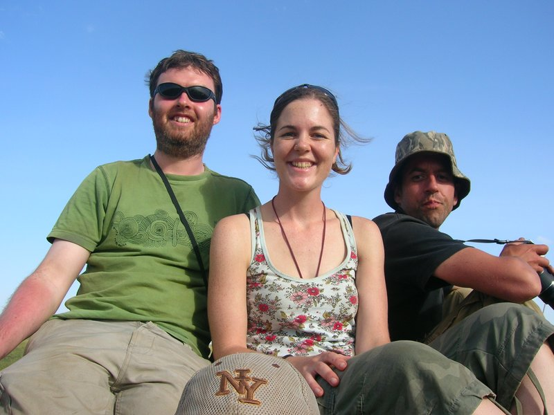 Hugh, Brett and myself on jeep roof in Serengeti