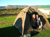 Cheesy pic of Ems and me in our tent in Cedarberg - tent buddies!!