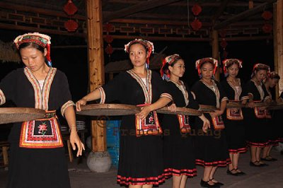 Yao women performing their traditional dance, Yangshuo, Guangxi, China