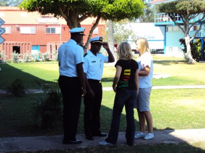 Ida and I being chatted up by some officer cadets.