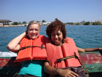 Ida and Ayana modeling our fashionable life jackets.