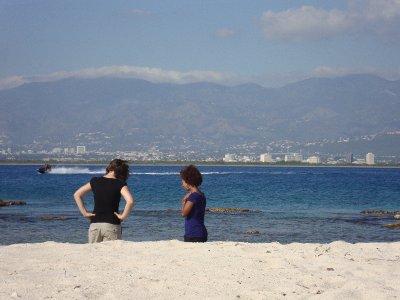 Olga and Ayana enjoying the beach