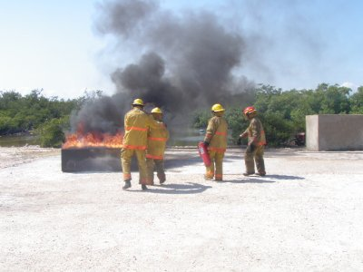 Using extinguishers on an oil fire