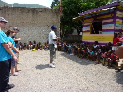 Uncle Mike (Jamaica) talking to the kids.