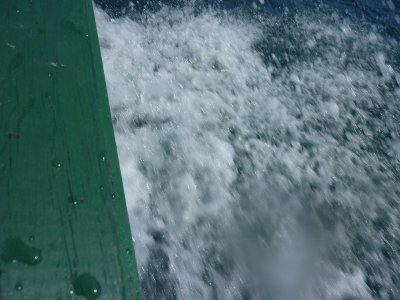 Over the side of the small fishing boat we took to Lime Cay!