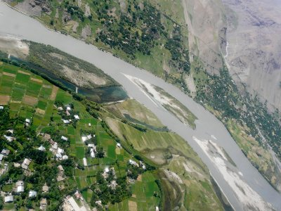 Aerial photo, Panj river near Khorugh