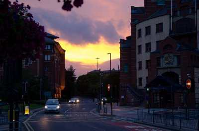 Westgate, Leeds at sunset