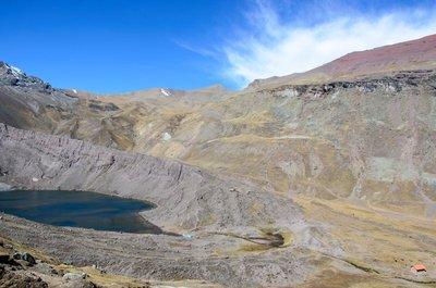 Laguna Ausengatecocha campsite (bottom right) and Palomani pass (top left)