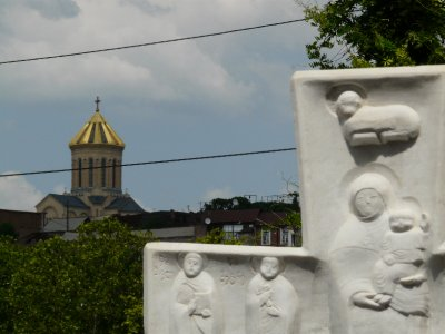 Tbilisi Sameba Cathedral in the distance