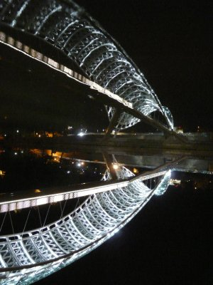 Peace Bridge at night, Tbilisi
