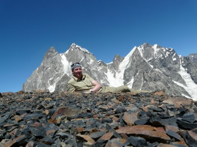 Me in front of Mt. Ushba (4710 m)