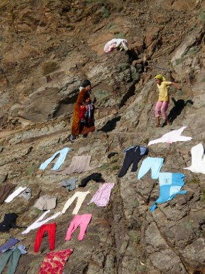 Drying laundry in the Atlas mountains
