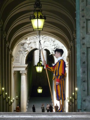 Pontifical Swiss Guard at the Bronze Door in Vatican City