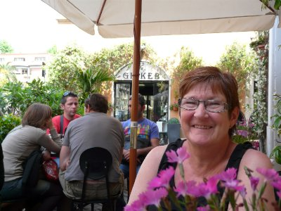 Mom at a Trastevere café