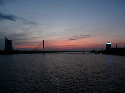 Vansu Bridge at dusk, Riga