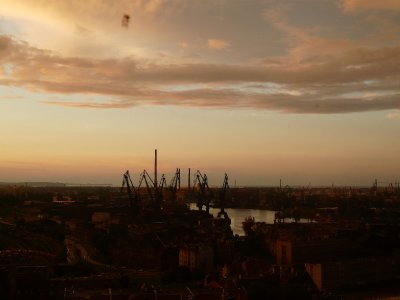 Gdansk harbour at dusk