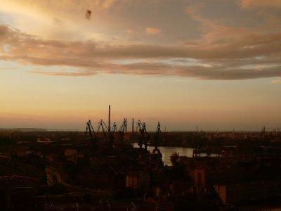 Gdansk harbour at dusk