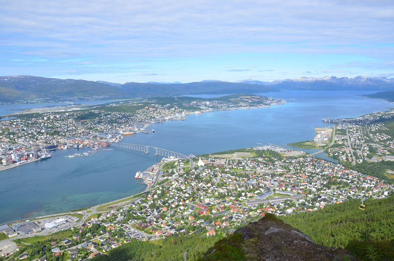 Northern & eastern Tromsö, view towards north