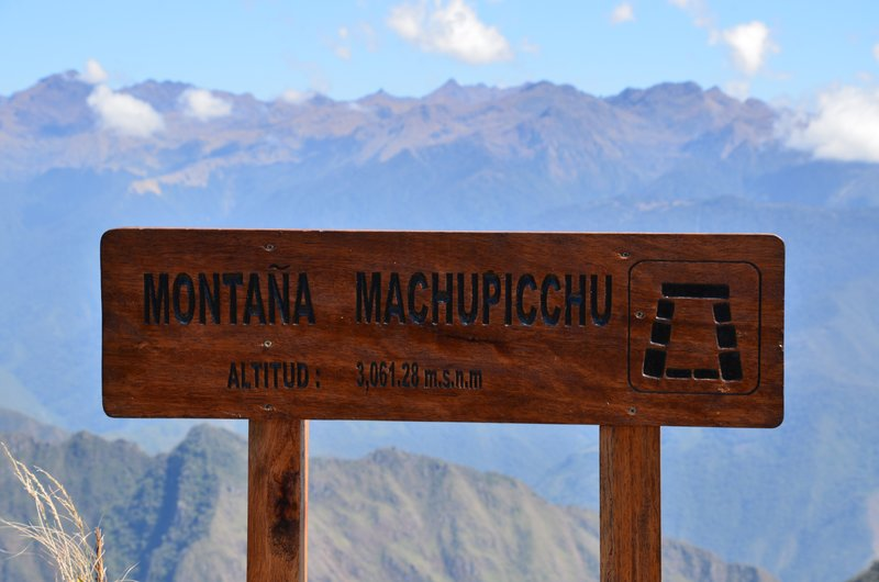 Sign, Machu Picchu Mountain