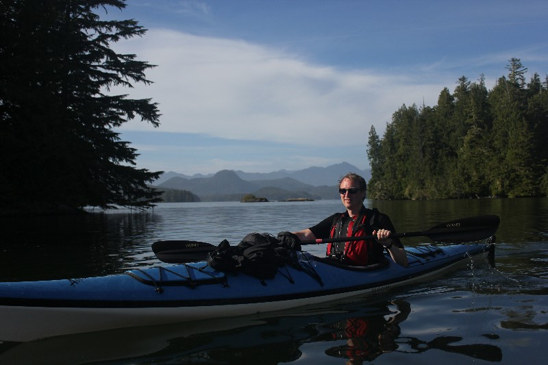 Kayaking outside Tofino