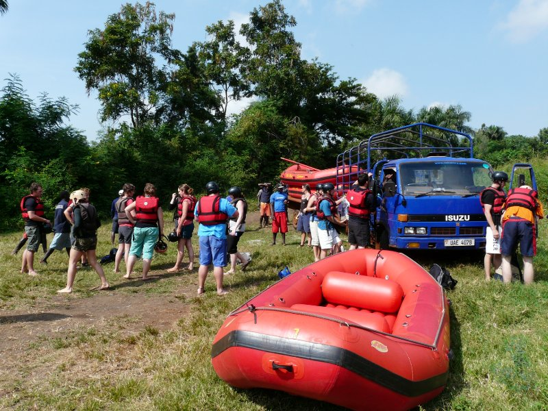 Unloading the rafts